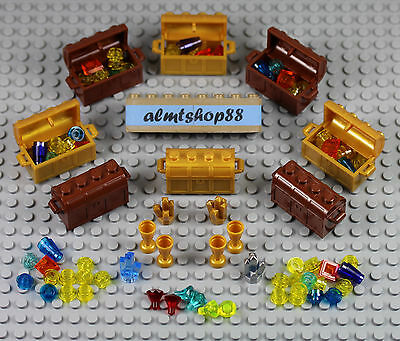 LEGO - Treasure Chests Lot w/ Jewels Gems Money Gold Rocks Pirate Minifigure