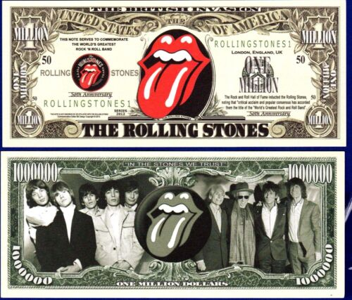 1- Rolling Stones Million Dollar Bill   - Collectible- FAKE-  MONEY- ITEM O