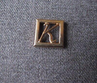 VINTAGE LETTER K GOLDEN METAL SQUARE APPLIQUE FOR CRAFT & JEWELRY MAKING (Letter K Craft)