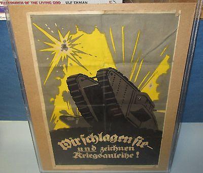 Antique Original World War I German Poster with Tank