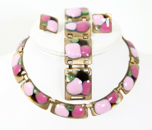 Vintage Kay Denning Pink Lime Green Enamel Necklace Bracelet Earrings Set