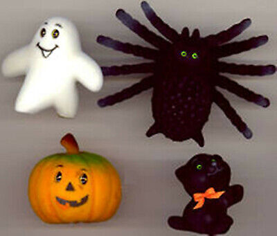 Vintage 1960 Halloween Decorations - Black Cat, Spider, Ghost, and