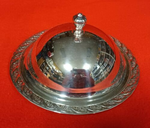 Vintage 3 piece Silver Plate Round Butter Dish with Dome Lid and Glass Insert