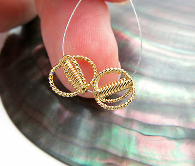 INTRICATE 24K GOLD VERMEIL OVER STERLING SILVER JEWELRY BEADS* AMAZING 2PC PAIR