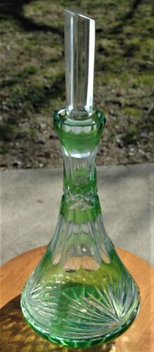 """Antique Bohemian Green Cut to Clear Crystal Ship Captains 16.5"""" Large Decanter"""