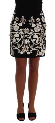 DOLCE & GABBANA  Cameo BLACK CRYSTAL FLORAL PENCIL SKIRT IT 42 Retail $4500