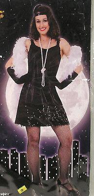 Women's Halloween Costume Size M 8-10, Black Sexy Flirty Flapper Dress Head Band