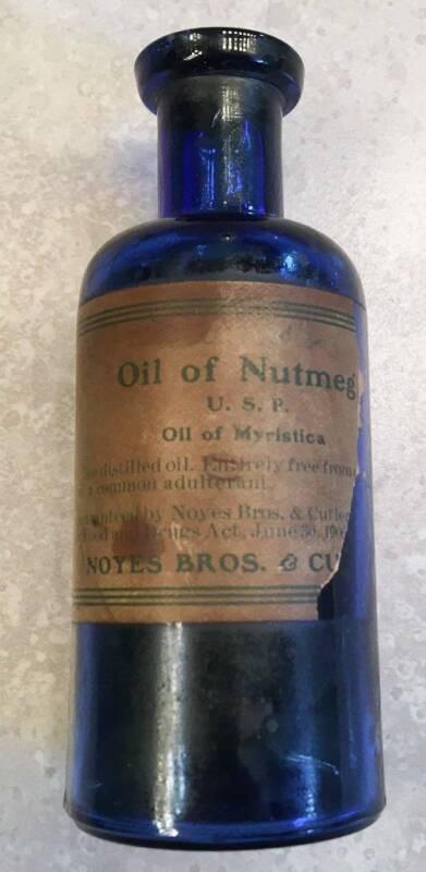 Rare Deep Cobalt Blue Vintage Oil of Nutmeg Myristica Bottle Noyes Bros & Cutler