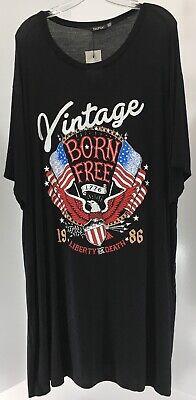 "Boohoo Plus ""Vintage Born Free/Liberty Or Death"" T-Shirt Dress Black US:20 NWT #"