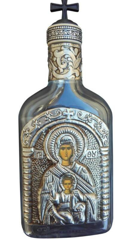 Holy Water Bottle 200ml 6.76oz Glass with Metal Icon Virgin Mary the Liberator