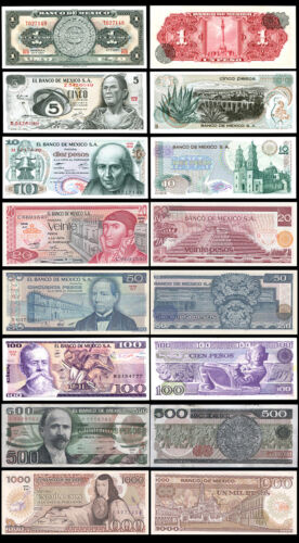 Set of 8Pcs Mexico 1+5+10+20+50+100+500+1000 Pesos,Uncirculated