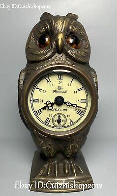 Chinese Bronze Night Owl Bird Animal Clock Mechanical watch Timepiece Statue