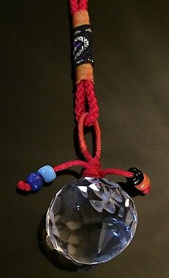 FENG SHUI PRISM FACETED BALL LUCKY  RED STRING PROTECTION CHARM NEW!!