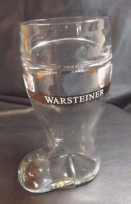 CLEAR GLASS BOOT SHAPED BEER STEIN MUG FEATURING A GERMAN WORDING DESIGN