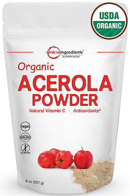 Premium Organic Acerola Cherries Powder Natural Vitamin C 8 Ounce Acerola Cherry Vitamin C