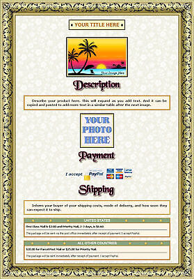 AUCTION TEMPLATE Gold Frame Leafy Border Design - FREE Shipping - $2.49
