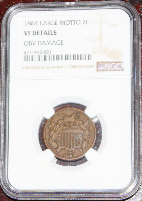 1864 two cent piece large motto NGC VF Details