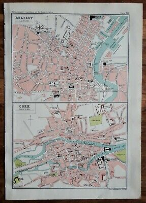 Belfast/Cork map. Antique 1904. 116 years old. River Lagan, River Lee. 1150