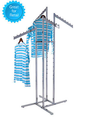 4-way Clothing Rack Slant Arms - Adjustable Made Of Chrome Rectangular Tubing