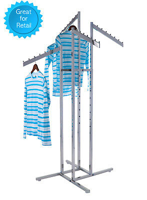 4-way Clothing Rack Slant Arms - Adjustable Made Of Chrome Rectangular Tubing