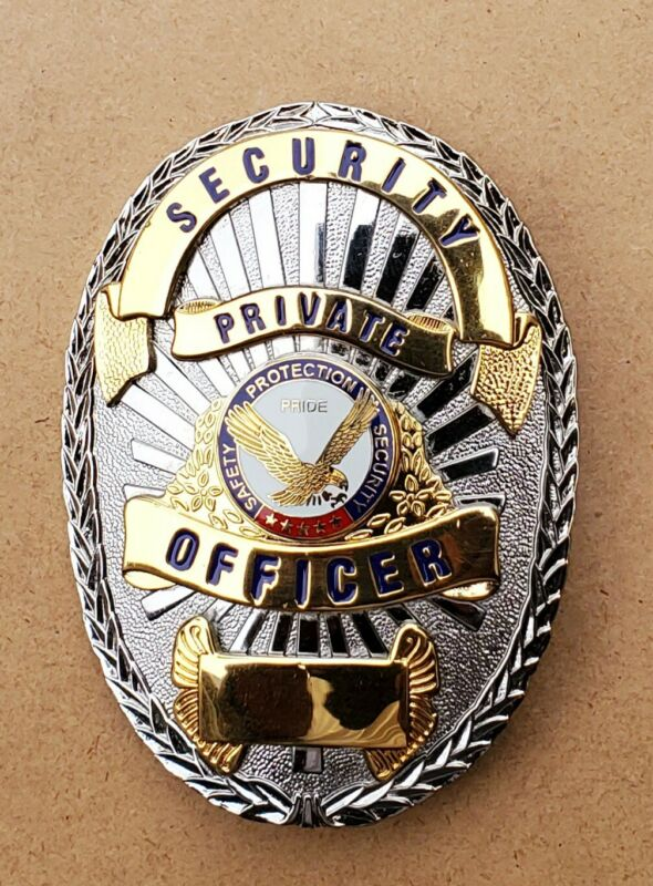 Security Private Officer Badge (American Eagle) Gold on Silver, w/Black Text