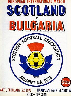 SCOTLAND v BULGARIA Programme. International Friendly. February 22, 1978