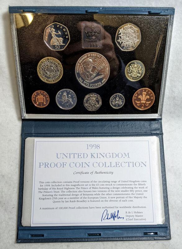 1998 Royal Mint UK Proof Coin Set OGP - 10 Coins