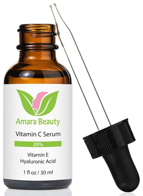 Amara Organic Vitamin C Serum Face Hyaluronic Vitamin E Anti