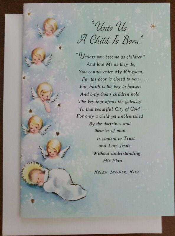 Vintage Helen Steiner Rice Gibson Greetings Christmas Card, Angels w/baby Jesus