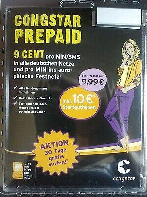 Congstar Prepaid Karte,10€ Startguthaben,D1 Netz,Nano Sim f. IPhone 5  I Phone 6
