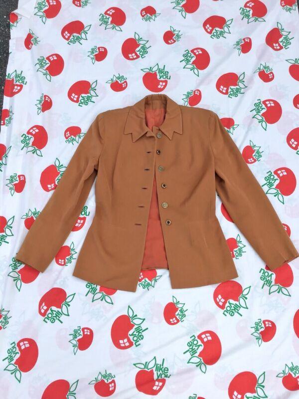 Vtg 1940s Cinnamon Gabardine Notched Collar Jacket Blazer Unusual Buttons