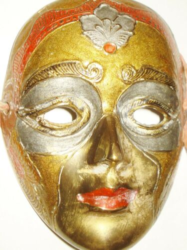 VINTAGE SOLID BRASS MASK NICE COLORFUL ENAMEL DESIGN NR