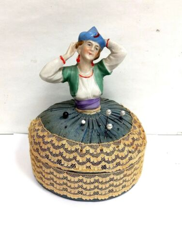 Porcelain Bisque Art Nouvea Deco Flapper Half Doll Pin Cushion