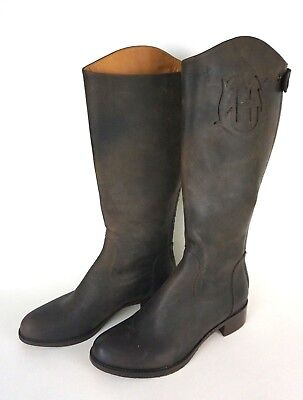 NEW HUNTER Brown High Womens Boots sz 7 ITALY Leather Harness Riding Flat *1024 (Hunter Boots Flats)