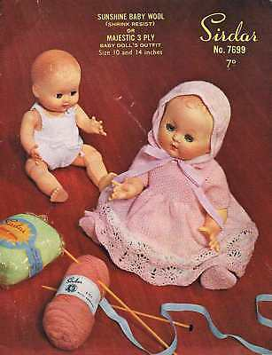 "Vintage Knitting Pattern for Dolls Clothes to fit 10 & 14"" doll - Printed copy"