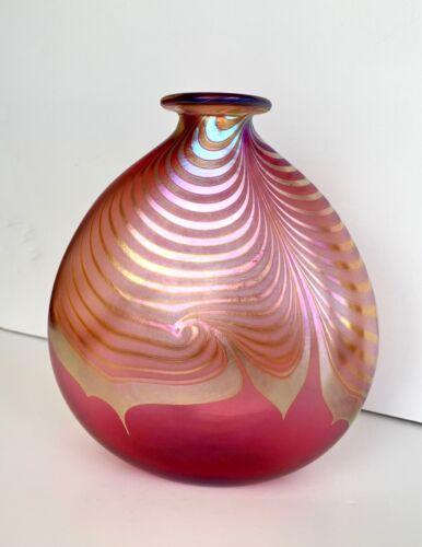Vintage Steven Correia Pulled Feather Cranberry Art Glass Squash Vase - Signed