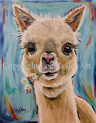 Купить Alpaca Art  Print from original canvas Alpaca painting 8x10 signed by artist
