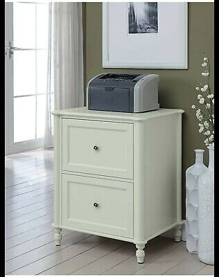 Manchester Wooden Vertical File Cabinet 2 Drawer Home Office Storage Ivory