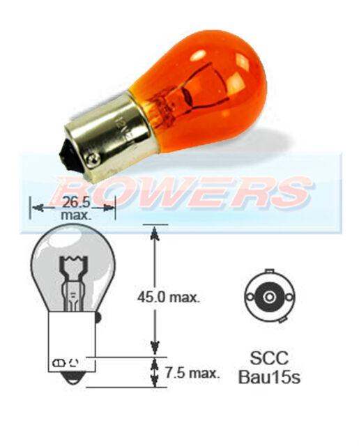 LUCAS LLB581 12V 21W PY21W SCC BAU15S SINGLE CONTACT AMBER ORANGE LIGHT BULB