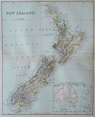 New Zealand map c1880. Auckland, Wellington. 141 yrs old. 940