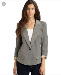 SMYTHE Sharp Shoulder Gray Wool Blazer Jacket