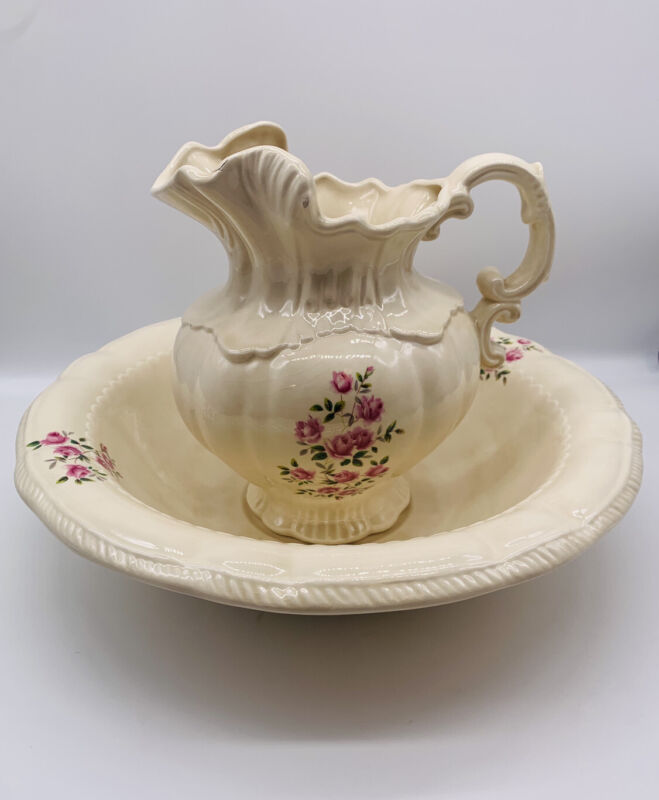 Vintage Arnels Porcelain Water Pitcher And Basin White W/ Flowers