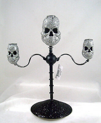 Glittered SKULL CANDELABRA Creepy HALLOWEEN Gothic Decor NEW Made of Metal - Skull Candelabra