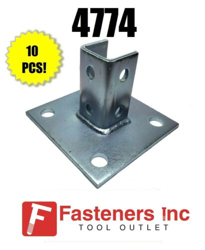 "(QTY 10) Square Post Base 1-5/8"" for Unistrut / B-Line Channel #4774 P2072ASQ EG"