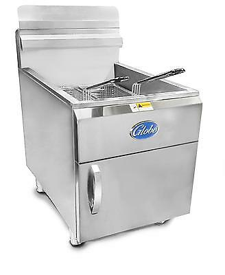 Globe Gf30g 30lb Stainless Steel Countertop Gas Deep Fryer - 53000 Btus