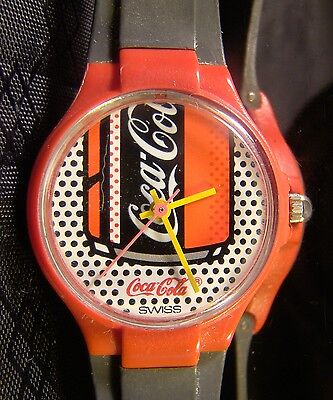 Collectable Women's Coca Cola Coke Swiss Red Black Can Dots Retro Working Watch