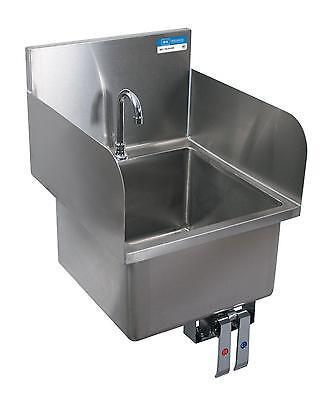 Bk Resources Deck Mount Hand Sink W Knee Valve Bracket Side Splashes