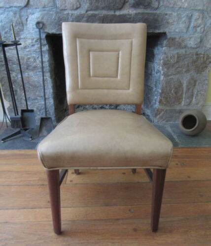 Vintage ART DECO LEATHER SIDE CHAIR in the Manner of Jean Michel Frank
