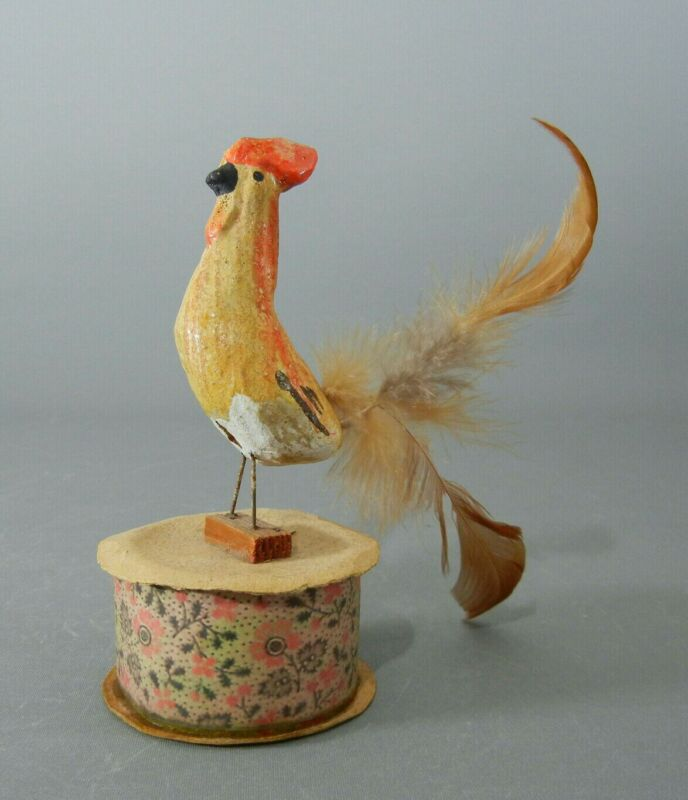 Antique ROOSTER Covered Candy Container, GERMANY