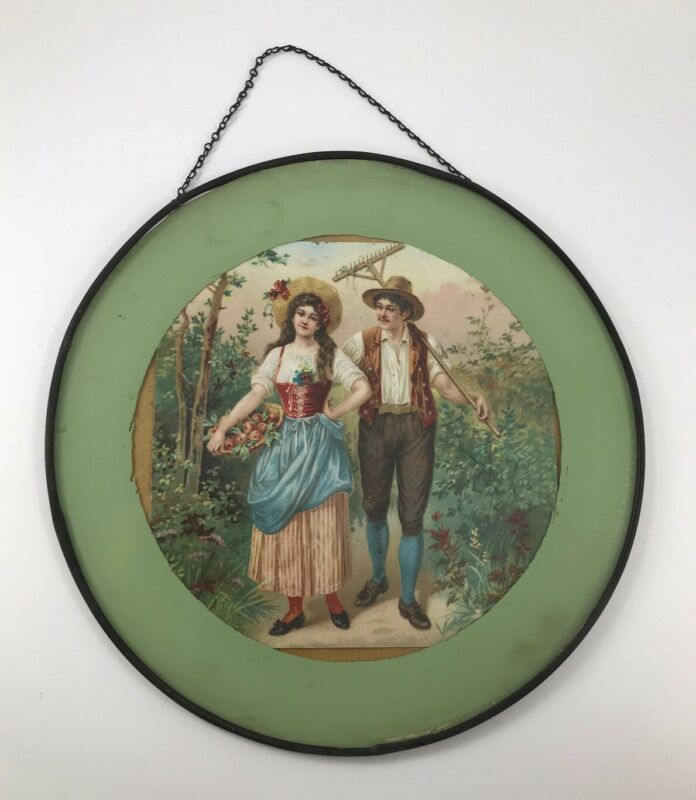 VINTAGE DECORATIVE FLUE COVER WITH MAN & WOMAN FARMER